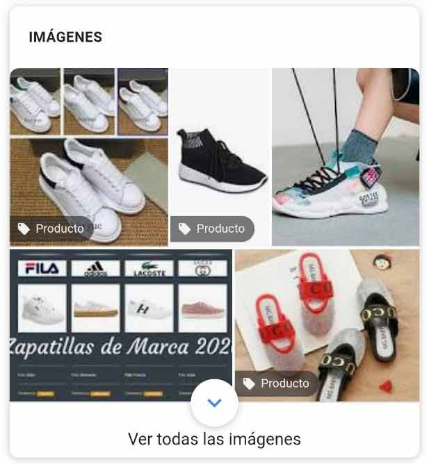 Cajón de imágenes con botón en las imágenes para comprar el producto