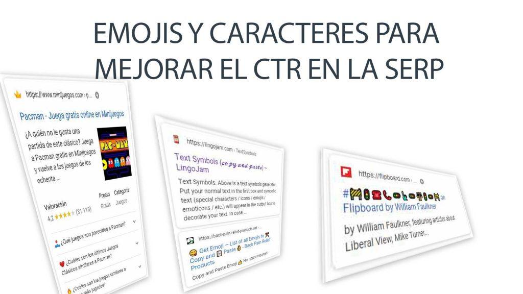 Emojis y caracteres para mejorar el CTR en la SERP