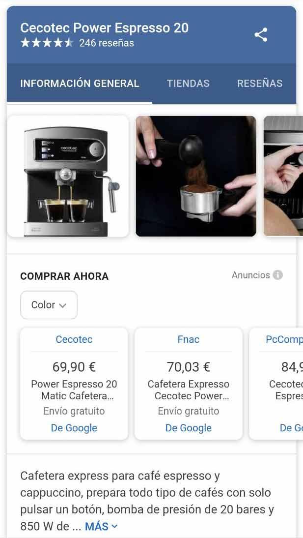 Featured Snippet avanzado de Google Shopping