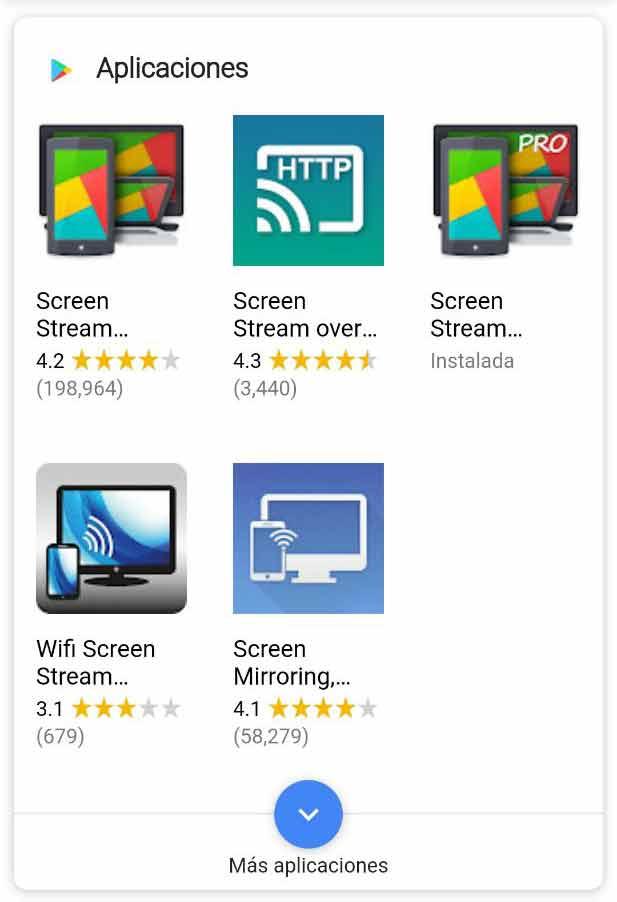Featured Snippet con listado de aplicaciones