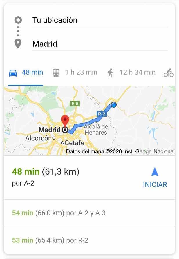 Featured Snippet de Google Maps