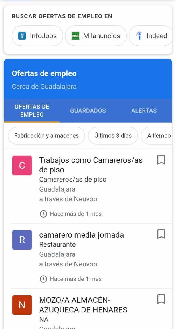 Featured snippet para buscar trabajo en Google