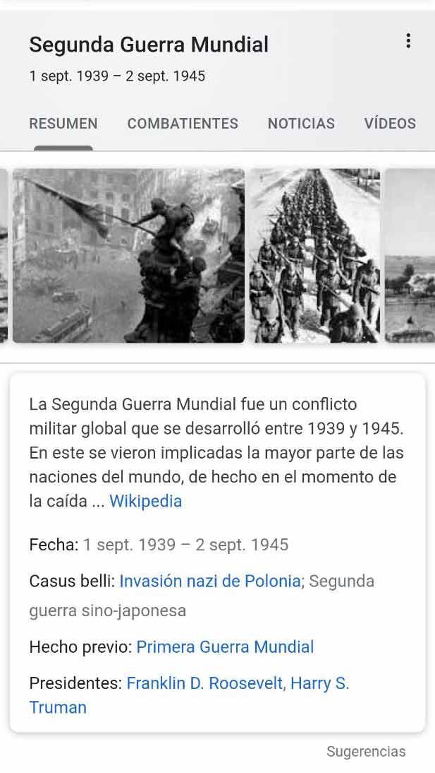 Knowledge de acontecimiento histórico