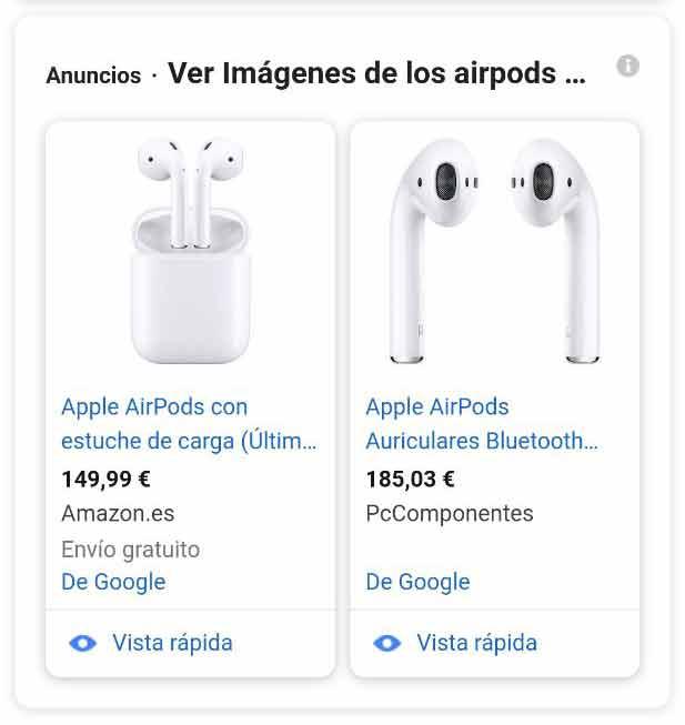 Snippet de Google Shopping