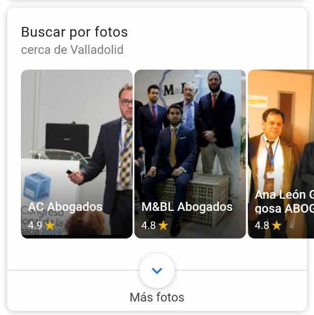 Snippet para buscar servicios a través de fotos en este caso buscar abogados por fotos