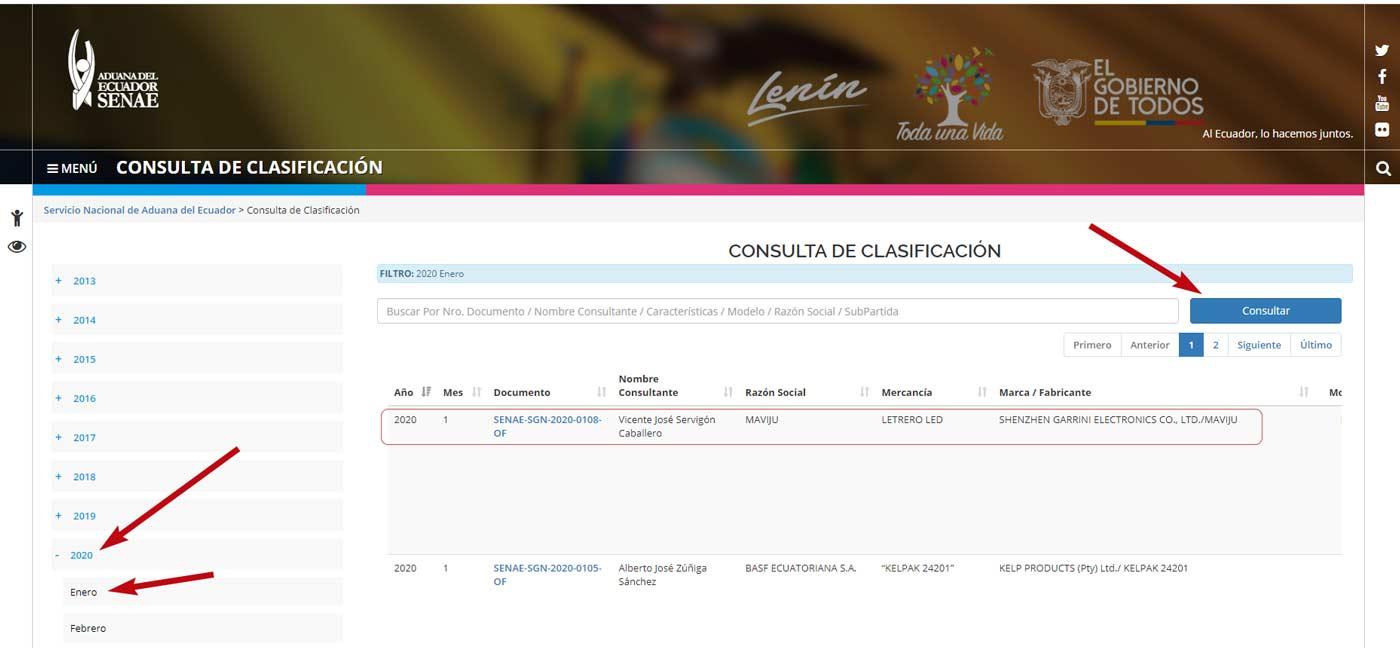 Consulta de clasificación Aduana Ecuador